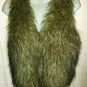 Jackets & Blazers - Brown Faux Fur Vest With Black Satin Lining